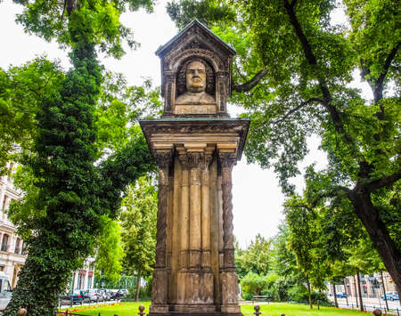 High dynamic range HDR The Altes Bach Denkmak meaning Bach old monument close to the St Thomas Church is the world oldest monument to Johann Sebastian Bach donated by Felix Mendelssohn Bartholdy in 1843 in Leipzig Germany Stock Photo
