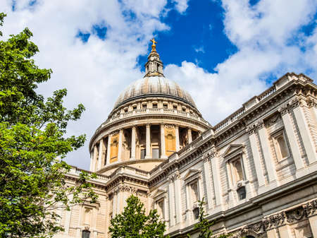 High dynamic range HDR St Paul Cathedral in London United Kingdom (UK) Stock Photo