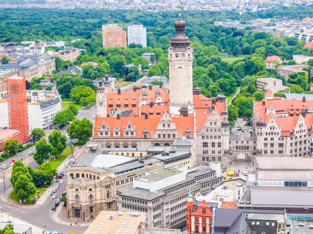 High dynamic range HDR Aerial view of the city of Leipzig in Germany with the Neue Rathaus new council hall