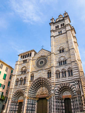 High dynamic range HDR Genoa Cathedral aka Duomo di Genova or Cattedrale di San Lorenzo seat of the Archbishop of Genoa Stock Photo
