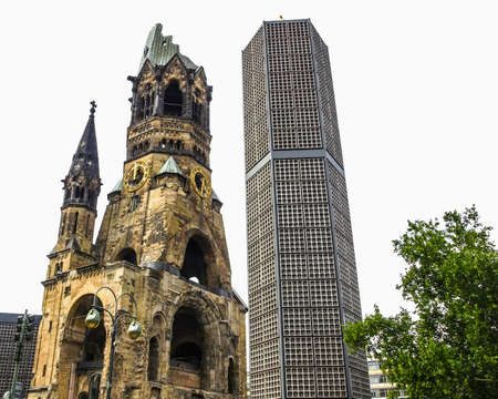 High dynamic range HDR Ruins of Kaiser Wilhelm Memorial Church in Berlin, destroyed by Allied bombing and preserved as memorial Stock Photo