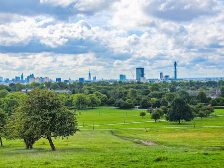 hill range: High dynamic range HDR Primrose Hill park in London England UK