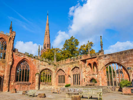 bombed: High dynamic range HDR Ruins of bombed St Michael Cathedral, Coventry, England, UK