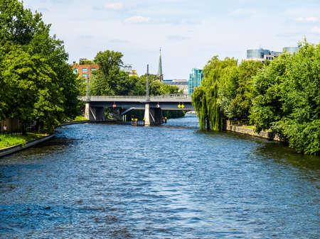 spree: High dynamic range HDR View of river Spree in Berlin, Germany Stock Photo