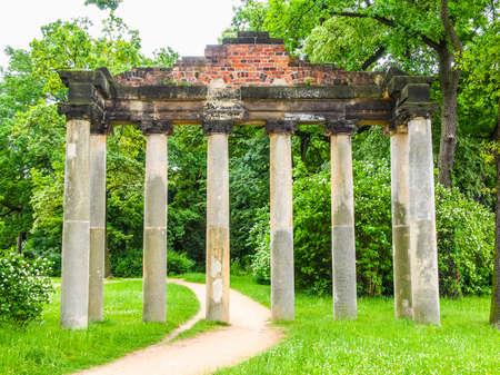 High dynamic range HDR Roman ruins known as Sieben Saeulen at Georgium  in Woerlitzer Park in Dessau, Germany