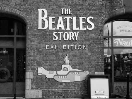 the beatles: LIVERPOOL, UK - CIRCA JUNE 2016: The Beatles Story exhibition in Albert Dock in black and white