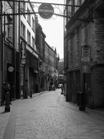 where: LIVERPOOL, UK - CIRCA JUNE 2016: The Cavern Pub opposite the Cavern Club where The Beatles played in black and white Editorial