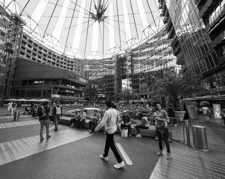 BERLIN, GERMANY - CIRCA JUNE 2016: Sony Center in Potsdamer Platz designed by Helmut Jahn in black and white