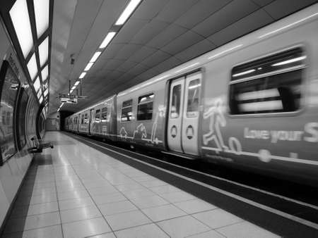 blur subway: LIVERPOOL, UK - CIRCA JUNE 2016: Subway trains in Liverpool. Motion blur on train. in black and white