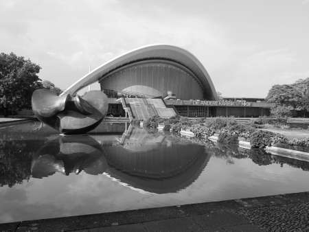 hugh: BERLIN, GERMANY - CIRCA JUNE 2016: Haus der Kulturen der Welt meaning House of the Cultures of the World in Tiergarten park designed in 1957 by Hugh Stubbins for the Interbau exhibition in black and white