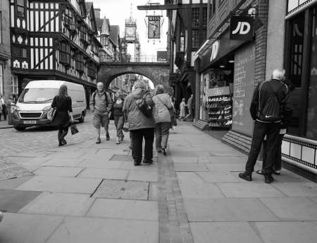 chester: CHESTER, UK - CIRCA JUNE 2016: View of the old city centre in black and white