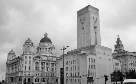 windtower: LIVERPOOL, UK - CIRCA JUNE 2016: Queensway tunnel ventilation tower in black and white