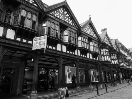 chester: CHESTER, UK - CIRCA JUNE 2016: Medieval Chester Rows in black and white Editorial