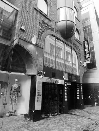 played: LIVERPOOL, UK - CIRCA JUNE 2016: The Cavern Club nightclub at 10 Mathew Street where The Beatles played in black and white