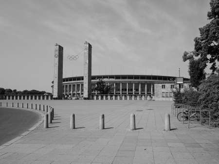 olympic stadium: BERLIN, GERMANY - CIRCA JUNE 2016: Olympiastadion (meaning Olympic Stadium) in black and white