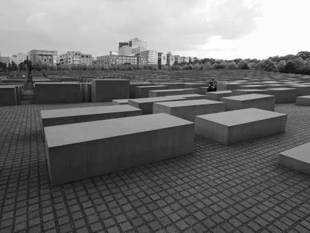 murdered: BERLIN, GERMANY - CIRCA JUNE 2016: Denkmal fuer die ermordeten Juden Europas meaning Holocaust Memorial to the Murdered Jews of Europe in black and white