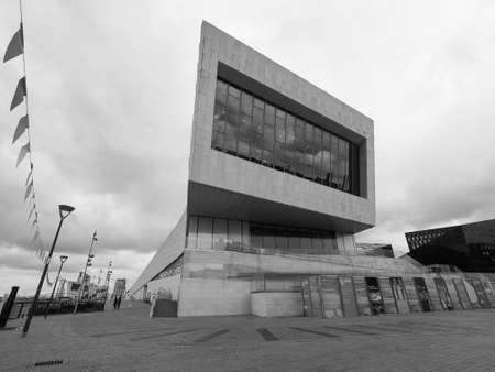 LIVERPOOL, UK - CIRCA JUNE 2016: The Museum of Liverpool designed by Danish architects 3XN at Pier Head part of Liverpool Maritime Mercantile City in black and white