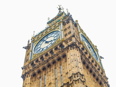 hdr background: High dynamic range HDR Big Ben Houses of Parliament Westminster  London gothic architecture - isolated over white background Stock Photo