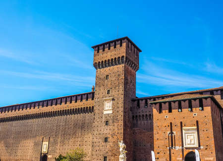 sforza: High dynamic range HDR Castello Sforzesco meaning Sforza Castle in Milan Italy