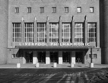 liverpool: LIVERPOOL, UK - CIRCA JUNE 2016: Liverpool Philharmonic Hall in black and white