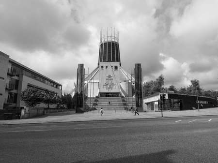 LIVERPOOL, UK - CIRCA JUNE 2016: Liverpool Metropolitan Cathedral aka Metropolitan Cathedral of Christ the King designed by Sir Frederick Ernest Gibberd in 1967 in black and white Editorial