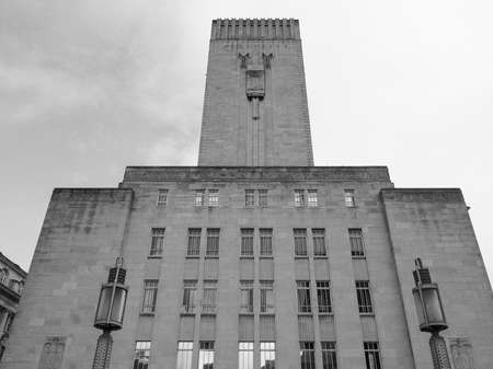 windtower: LIVERPOOL, UK - CIRCA JUNE 2016: George Dock ventilation tower in black and white Editorial