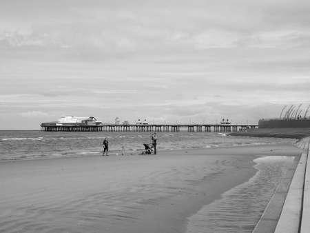 amusement park black and white: BLACKPOOL, UK - CIRCA JUNE 2016: Blackpool Pleasure Beach resort amusement park on the Fylde coast in Lancashire in black and white
