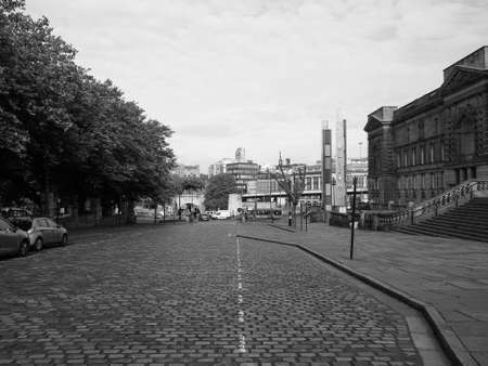 liverpool: LIVERPOOL, UK - CIRCA JUNE 2016: View of the city of Liverpool in black and white Editorial