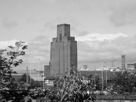 windtower: LIVERPOOL, UK - CIRCA JUNE 2016: Queensway tunnel ventilation tower in Pacific Road, Birkenhead in black and white Editorial