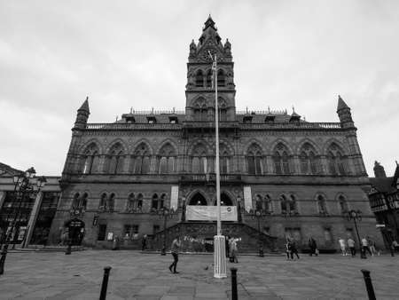 municipal editorial: CHESTER, UK - CIRCA JUNE 2016: Chester Town Hall in black and white Editorial