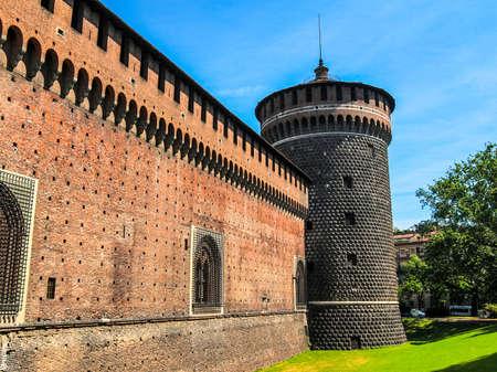 sforza: High dynamic range HDR Castello Sforzesco (Sforza Castle) in Milan, Italy
