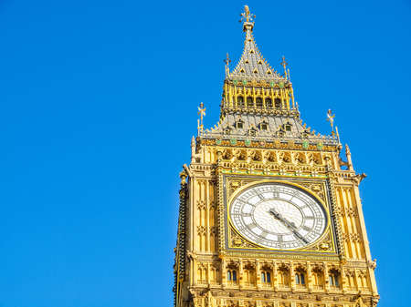 hdr background: High dynamic range HDR Big Ben Houses of Parliament Westminster  London gothic architecture - over blue sky background
