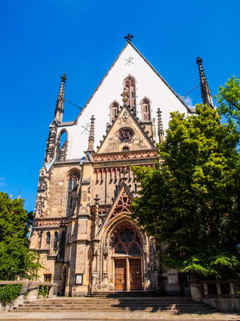 worked: High dynamic range HDR Thomaskirche St Thomas Church in Leipzig Germany where Johann Sebastian Bach worked as a Kapellmeister and the current location of his remains Stock Photo
