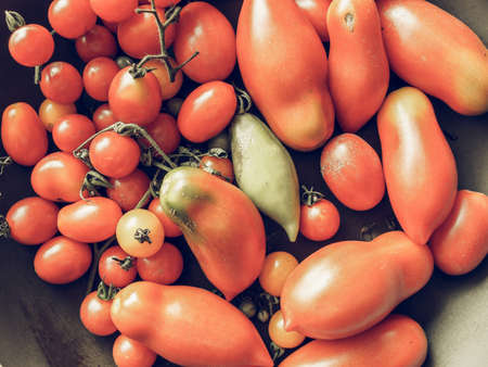 desaturated: Vintage desaturated Red Italian tomato vegetables healthy vegetarian food