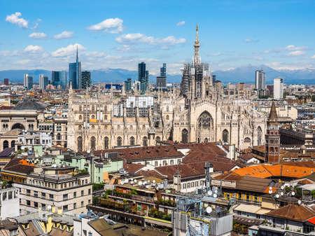 High dynamic range HDR Aerial view of Duomo di Milano gothic cathedral church in Milan, Italy Stock Photo