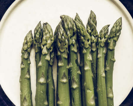 desaturated: Vintage desaturated Detail of Asparagus officinalis vegetables Stock Photo