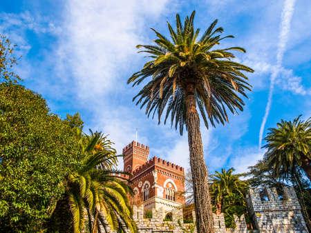 architecture alphabet: High dynamic range HDR Castello d Albertis gothic revival  in Genoa Italy