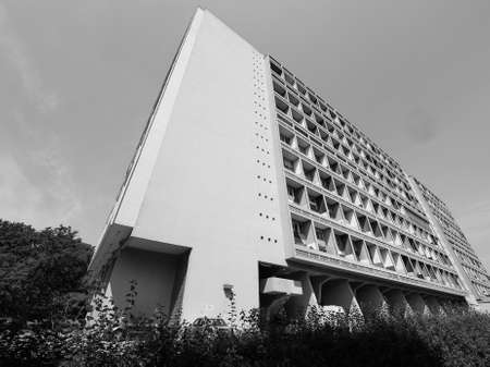 uniting: BERLIN, GERMANY - CIRCA JUNE 2016: The Corbusier Haus designed by Le Corbusier in 1957 in black and white