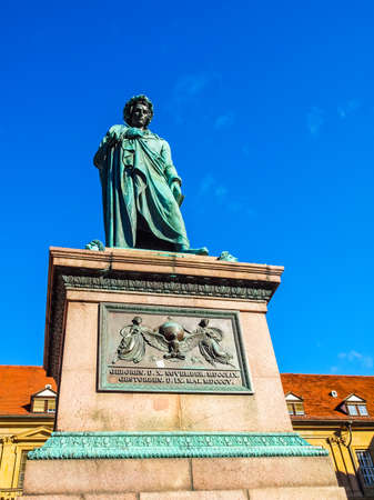 High dynamic range HDR Monument to the poet Schiller in Stuttgart, Germany