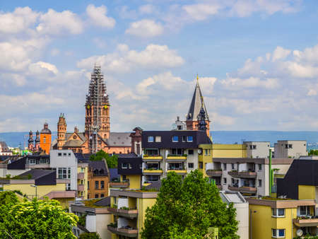 High dynamic range HDR View of the city of Mainz in Germany Stock Photo