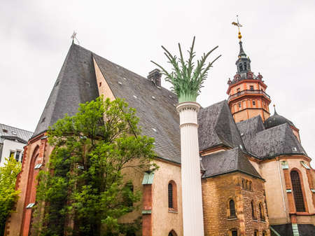 performed: High dynamic range HDR Nikolaikirch St Nicholas Church in Leipzig Germany where Johann Sebastian Bach performed the world premiere of St John Passion Stock Photo