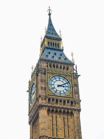 bigben: High dynamic range HDR Big Ben Houses of Parliament Westminster  London gothic architecture - isolated over white background Stock Photo