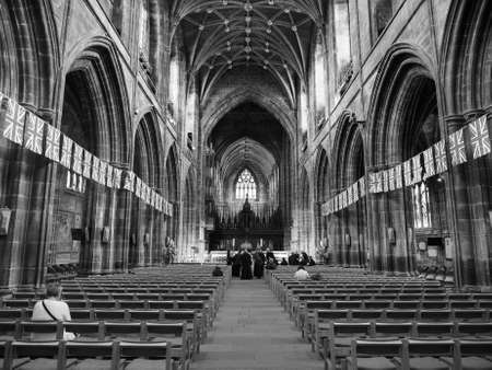 CHESTER, UK - CIRCA JUNE 2016: Chester Anglican Cathedral church in black and white