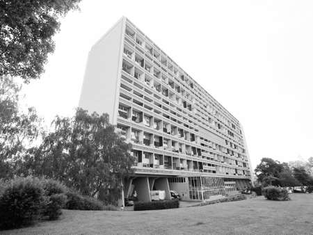 rationalist: BERLIN, GERMANY - CIRCA JUNE 2016: The Corbusier Haus designed by Le Corbusier in 1957 in black and white