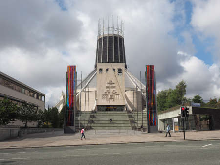frederick: LIVERPOOL, UK - CIRCA JUNE 2016: Liverpool Metropolitan Cathedral aka Metropolitan Cathedral of Christ the King designed by Sir Frederick Ernest Gibberd in 1967