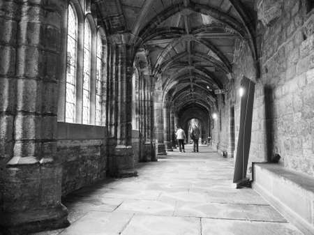 chester: CHESTER, UK - CIRCA JUNE 2016: Chester Anglican Cathedral church in black and white