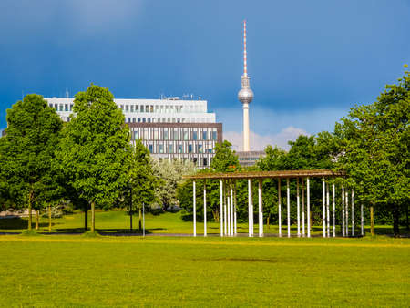 high dynamic range: High dynamic range HDR TV Fernsehturm Television tower in Berlin Germany Stock Photo