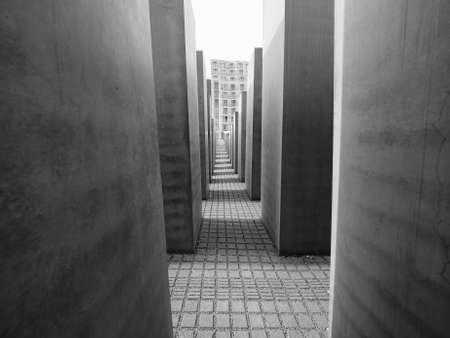 jews: BERLIN, GERMANY - CIRCA JUNE 2016: Denkmal fuer die ermordeten Juden Europas meaning Holocaust Memorial to the Murdered Jews of Europe in black and white