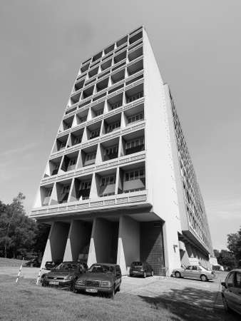BERLIN, GERMANY - CIRCA JUNE 2016: The Corbusier Haus designed by Le Corbusier in 1957 in black and white