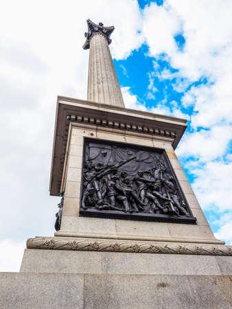 nelson: High dynamic range HDR Nelson Column monument in Trafalgar Square in London, UK